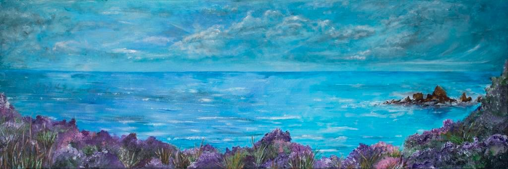 A moment      Ref : HD 004 - 47x16inch  A gorgeous panoramic seascape, celebrating every ounce of joy the coast offers. Rich purple heather frames the bottom of the painting leading the eye to explore. Heather represents admiration, beauty and good luck. It has been known to be associated with solitude and protection. The traditional purple heather is used to represent admiration, beauty and solitude, while the pink is associated with good luck.