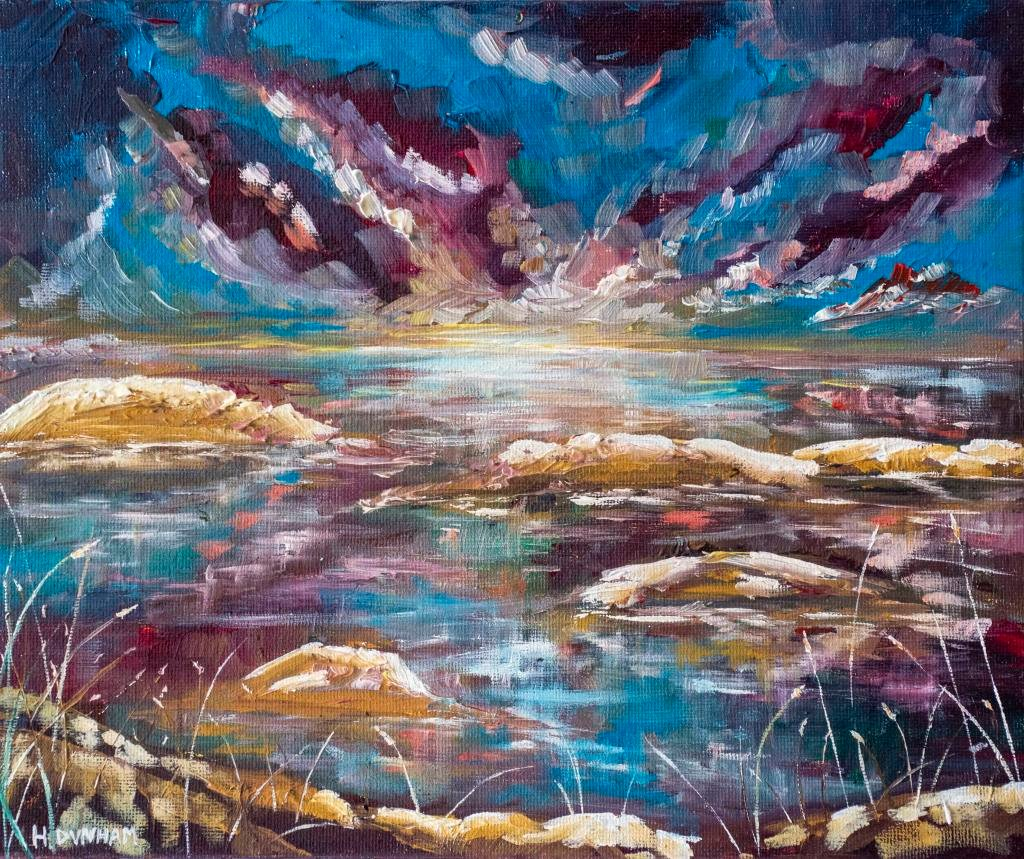Faith      Ref : HD 007  -  12x10inch    The glow of the sun rising begins to spread across the coast, spreading its warmth onto everything it touches. A bright pallet of blues and purples dominate this piece. Brush and pallet knife used to layer and sculpt.    Faith can move mountains – its all about believing.
