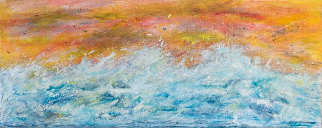 Freedom     Ref : HD 013  Birds flying high, sea below, the world is just as it should be. This piece is a direct reaction to the beauty of rocky times. Even in seasons of challenges we can find beauty and find things to be grateful for. In doing this – we learn and grow. The sea is ever changing. Choppy, turbulant seas, atmospheric skies always are followed by calm, peaceful seas. I nearly called this peace 'Hope' as it really resignated with me during the painting process. 'Freedom' eventually became its name.   Beautiful, free and wild.