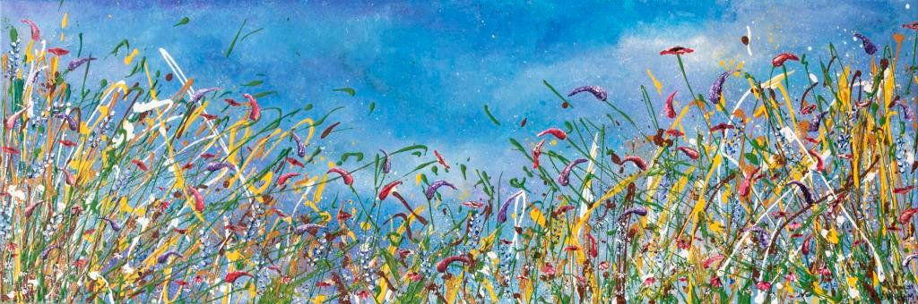 Give it love - Ref : HD 003  - 47x16inch  A blanket of flowers filling the canvas brings colour and joy to whoever views it. Memories of walking through fields of flowers, grasses passing through your finger tips and the breeze gently allowing the flowers to dance in the breeze. This piece is a a true celebration of natures treasures. The paint moves joyfully around the canvas, it has been allowed to flow as it pleases. Just as nature takes its own course – its own journey. Thats where the true magic happens.