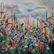 Let's dance among the flowers Forever     Ref: HD 020   - 10x10inch  All the colours on Nature's pallet fill this canvas.  Calming skies look down below to a dance between colour and movement. This piece was a joy to paint and each layer of flowers has been lovingly painted, creating endless textures for you to enjoy.  | Picture framer Bristol