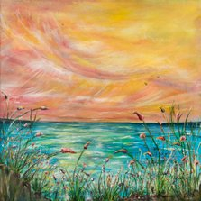 I Am      Ref : HD 012  -  20x20inch  The sea holds a very magical place in my heart. 'I am' is a celebration of the seas healing powers. The seas positive energy is celebrated through the bright, colourful paint pallet used in the sky. Through any tough season, this painting can be viewed and its beauty and magic absorbed to aid healing. A moment of calm amidst the business of life.