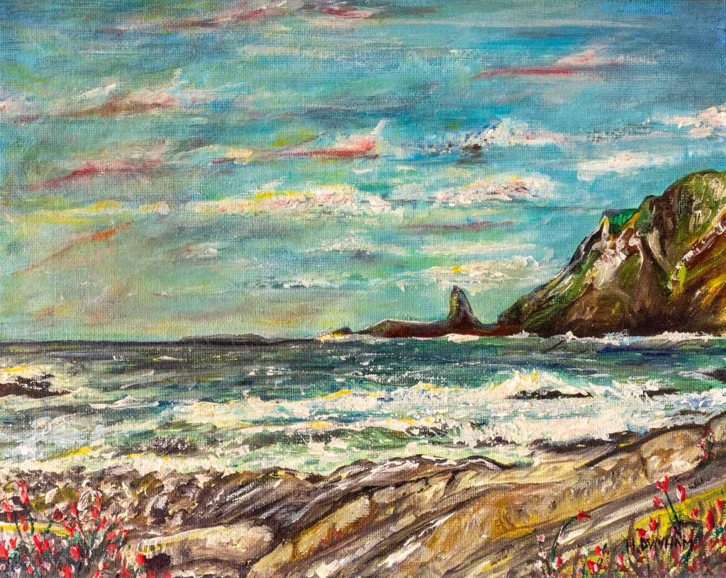 In the Hartland     Ref : HD 014  -  10x8inch  This piece is a response to a wonderful visit to Hartland Bay in Devon, to see its spectalur cliffs and contorted rock layers. North of Bude, Hartland Bay experiences some of the roughest seas in winter. Lovingly painted with brush and sculpted with pallet knife.
