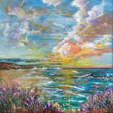 It's a beautiful day      Ref : HD 015  -  10x10inch  The world is full of beauty, if only we allowed time to look. This eyecatching, detailed canvas is a respone to a beautiful moment while walking the cornish coast. Through a divide in the flowers swaying in the sea breeze, waves could be heard breaking on the shore. As the suns rays began to touch the water, I was reminded of the pure beauty that nature offers us every minute of every day. A romantic painting which will bring a ray of happiness, colour and warmth to any home.