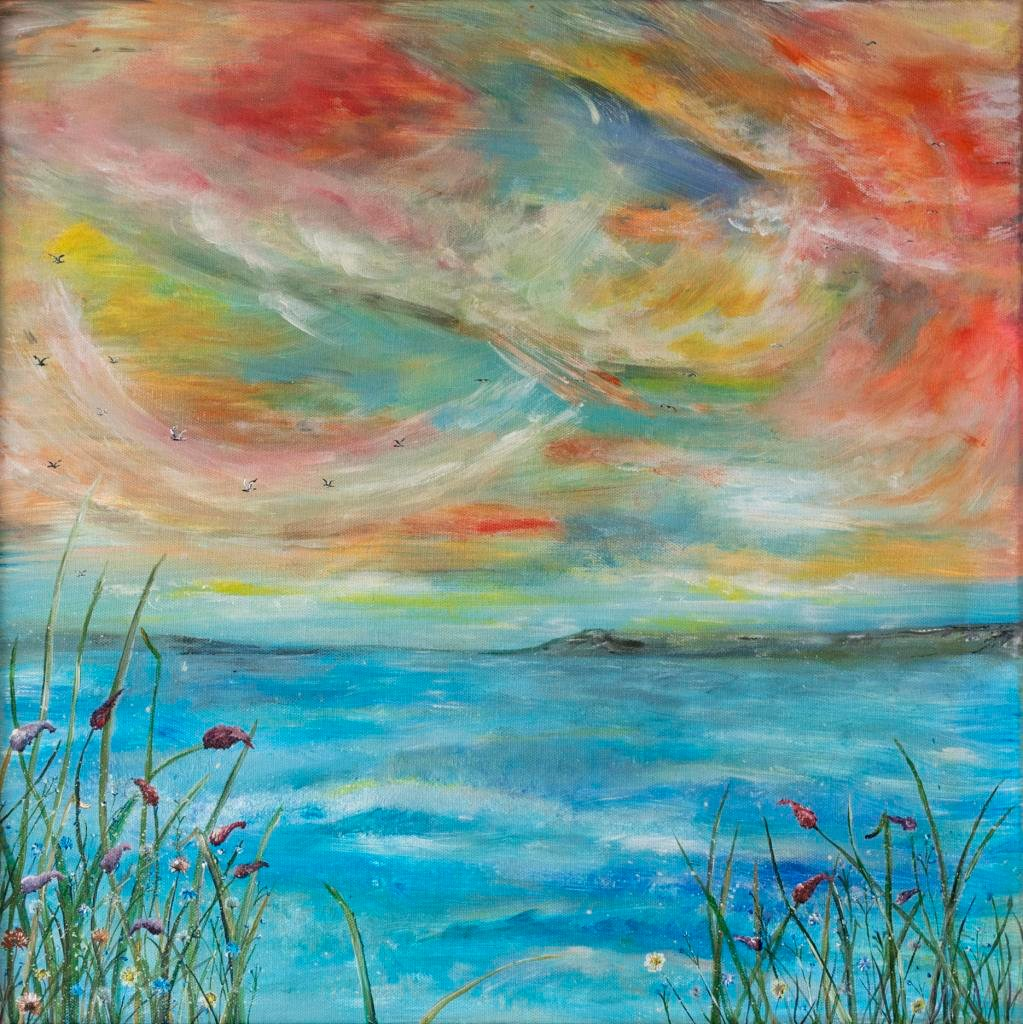 Joy      Ref : HD 016  -  20x20inch  Life can get busy sometimes. Sometimes we are so busy getting on with the business of life, we forget to just stop and just be. This painting offers a mindful moment, a pause to pay attention to our lives ~ to the thoughts and feelings we have. We can steer our ship and chart our course to anywhere we want to go.