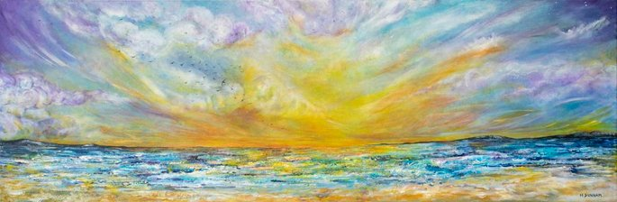 Let it be      Ref : HD 011  -  47x16inch  A sweeping panorama of atmosperic skies, rolling cliffs in the distance and endless waves breaking on the shores. If you look close you can see a small murmuration of birds flying high above the waves. The piece is full of movement, layers and love. It has been reworked and reworked again until all the emotion needed was poured into the heart of it.  Let it go and let it be.