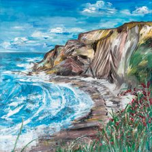 Passion led me here     Ref : HD 009  -  20x20inch  This painting was inspired by my love affair with the sea. While walking the coastal path and discovering a hidden cove through the long grasses. A view so magical, it continues to transport the viewer to a place of calm and tranquillity, the sounds of the sea and the taste of salty air. The sound of crashing waves induces a deep state of relaxation on the mind and body ~ a moment in time captured for all to enjoy.