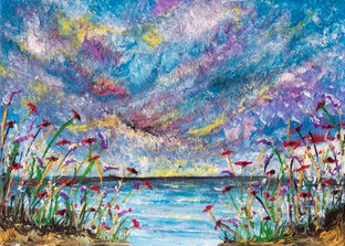Poppies after the storm     Ref: HD 006  - 7x5inch  Atmospheric textured skies, wild flowers and calm seas fill 'Poppies after the Storm'. A little pocket of calm to fill your home and a reminder that all things pass.   The sun always shines after the storm.