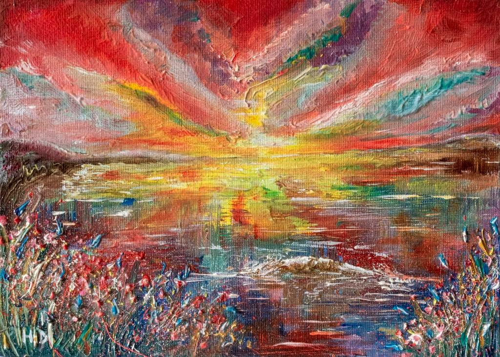 "Red skies      Ref HD 018  -  7x5inch  A rare piece from me in oils, this piece needed oils to build the colour and texture that it needed. Sailors and farmers relied on the weather to navigate ships and plant crops. The colours we see in the sky are rays of sunight being split into colours of the spectrum as they pass through the atmoshere. The amount of water vapor and dust in the atmospere determine which colours we will see in the sky. This painting is a celebration of natures glorious miracles, its red skies triumphing the skies and earth below.   Shakespeare in his play, Venus and Adonis – ""like a red mourn that ever yet betokened, Wreck to the seaman, tempest to the field, Sorrow to the shepherds, woe unto the birds crusts and foul flaws to herdmen and to the herds""."