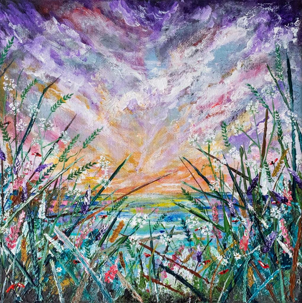 Secret spot     Ref : HD 005  -  10x10inch  The sky is ever-changing, always creating a new canvas to paint. Atmospheric skies sweep through this joyful piece, hugged by layers and layers of sculpted flowers. The paint is laid on thickly, with floral detail wrapping around the canvas. A true celebration of natures gifts. The piece comes ready to hang.