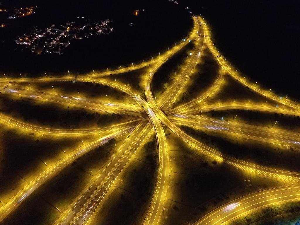 Junction | Ref: JW 020 | Bristol from above by night | crossroads lights | framde fine art consultants | manufacture of cusom picture frame
