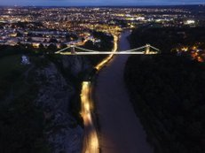 Suspension bridge by night | Ref: JW 039 | aerial photography | drone | Bristol from above by night | city lights | personalised picture frames