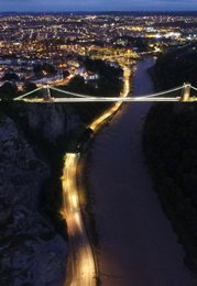 aerial photography  | Bristol Suspension Bridge by night | photo frames | mount cuts |buy picture for interior | art design | photography