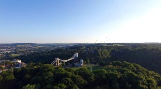 By the Bridge | Ref : JW 042 | aerial photography | Bristol Suspension Bridge | Baloon Fiesta  | stock library | professional picture framer Bristol