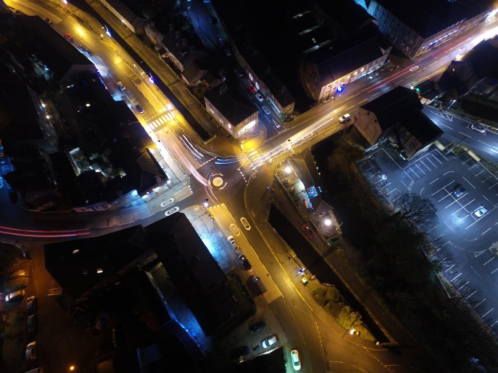Crossroads | Ref: JW 043 | aerial photography | Bristol city from above | night lights | art design | photo library