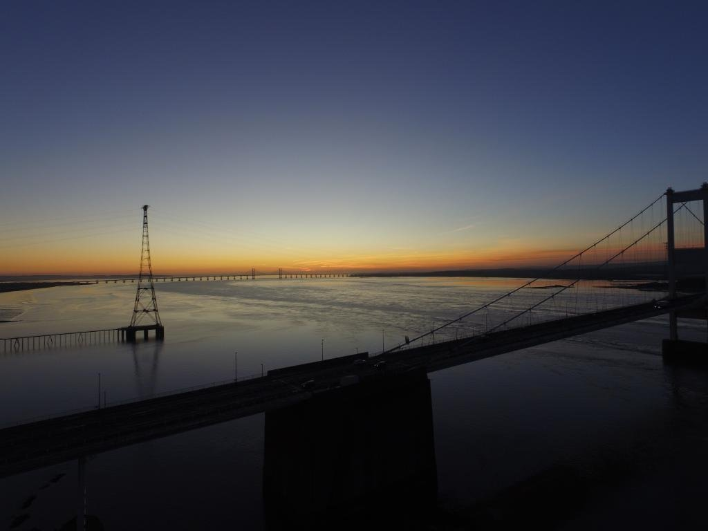 Ref : TW 066 | Severn Bridge serie | view of the Severn Bridge at Sunset | drone photography | art framing