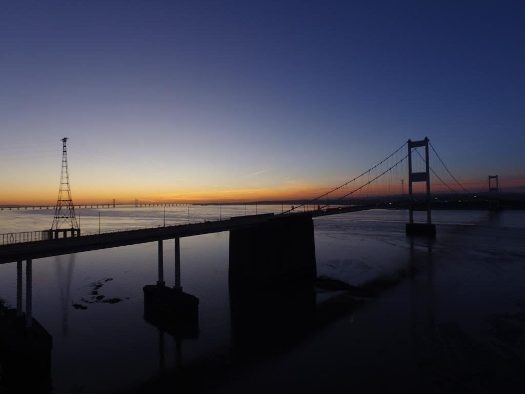 Ref : TW 068 | Severn Bridge serie | view of the Severn Bridge at Sunset | seascape | stock image lirary