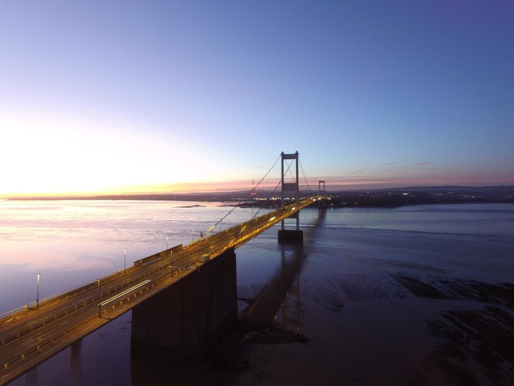Ref : TW 071 | Severn Bridge serie | view of the Severn Bridge at Sunset | lanscape photography | aerial | drone