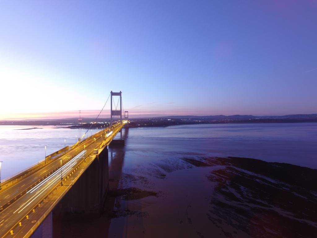 Ref : TW 072 | Severn Bridge serie | view of the Severn Bridge at Sunset | drone photography | art framing
