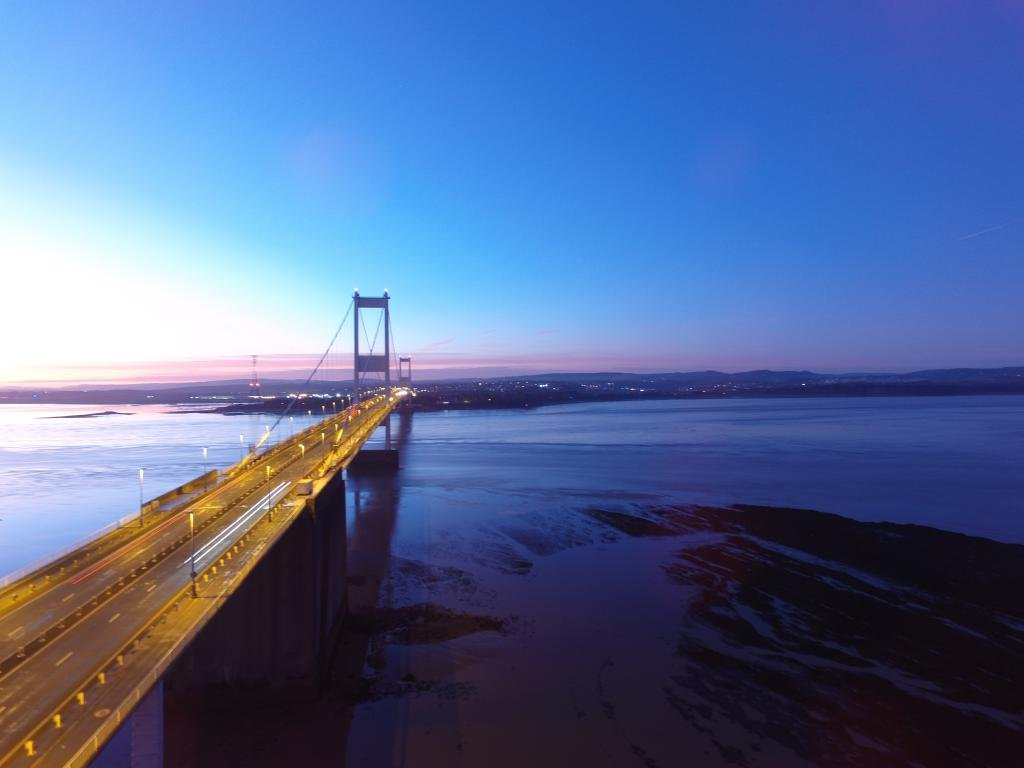 Ref : TW 073 | Severn Bridge serie | view of the Severn Bridge at Sunset | drone | landscape | design photography